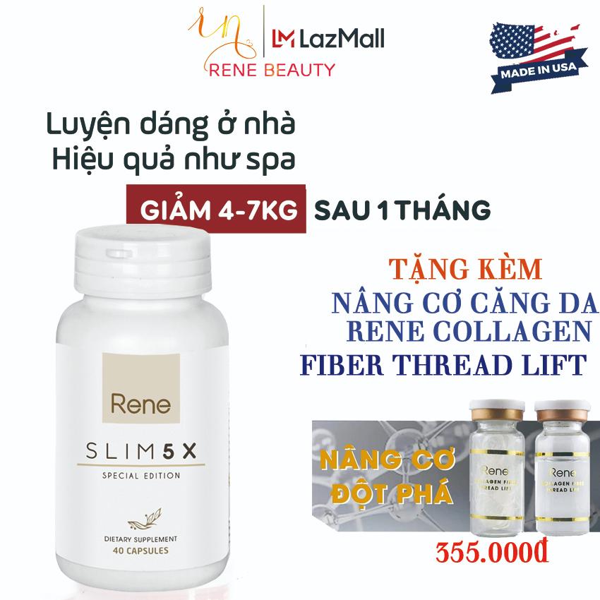 Viên Uống Giảm Cân Rene Slim 5X [Đốt cháy mỡ;Giảm sự thèm ăn;Ngăn sự hấp thu chất béo;Đào thải độc...