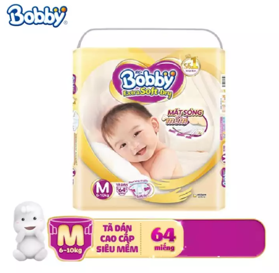 [THANH LÝ] Tã/bỉm dán cao cấp siêu mềm Bobby Extra soft M64 (6-10kg) – Hạn sử dụng tối thiểu 2 tháng