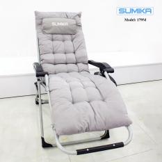 Ghế xếp thư giãn SUMIKA 179M – Tặng kèm nệm và khay đựng ly, khóa kim loại, tải trọng 300kg