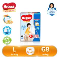Tã/bỉm quần Huggies Super Jumbo L68 – Gói 68 miếng (Cho bé 9kg – 14kg)