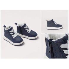 Giày Sneaker Hm Xanh Than, Có Dây Và Khoá Kéo Cho Bé Từ 0-3 Tháng Tuổi