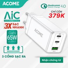 [Bảo Hành 12 Tháng] ACOME ACG03 Củ Sạc 3 Cổng Sạc nhanh Q.C 4.0 chuẩn PD 65W Công nghệ mới GaN Fast – Hàng Chính Hãng