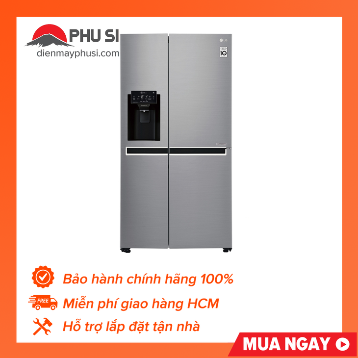 [Trả góp 0%]Tủ lạnh Side by Side LG GR-D247JDS 601L Inverter