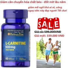 Viên uống hỗ trợ giảm cân không tác dụng phụ, giúp cơ thể săn gọn, hỗ trợ chức năng thận Puritan's Pride L-Carnitine 500mg 60 viên HSD 03/2020