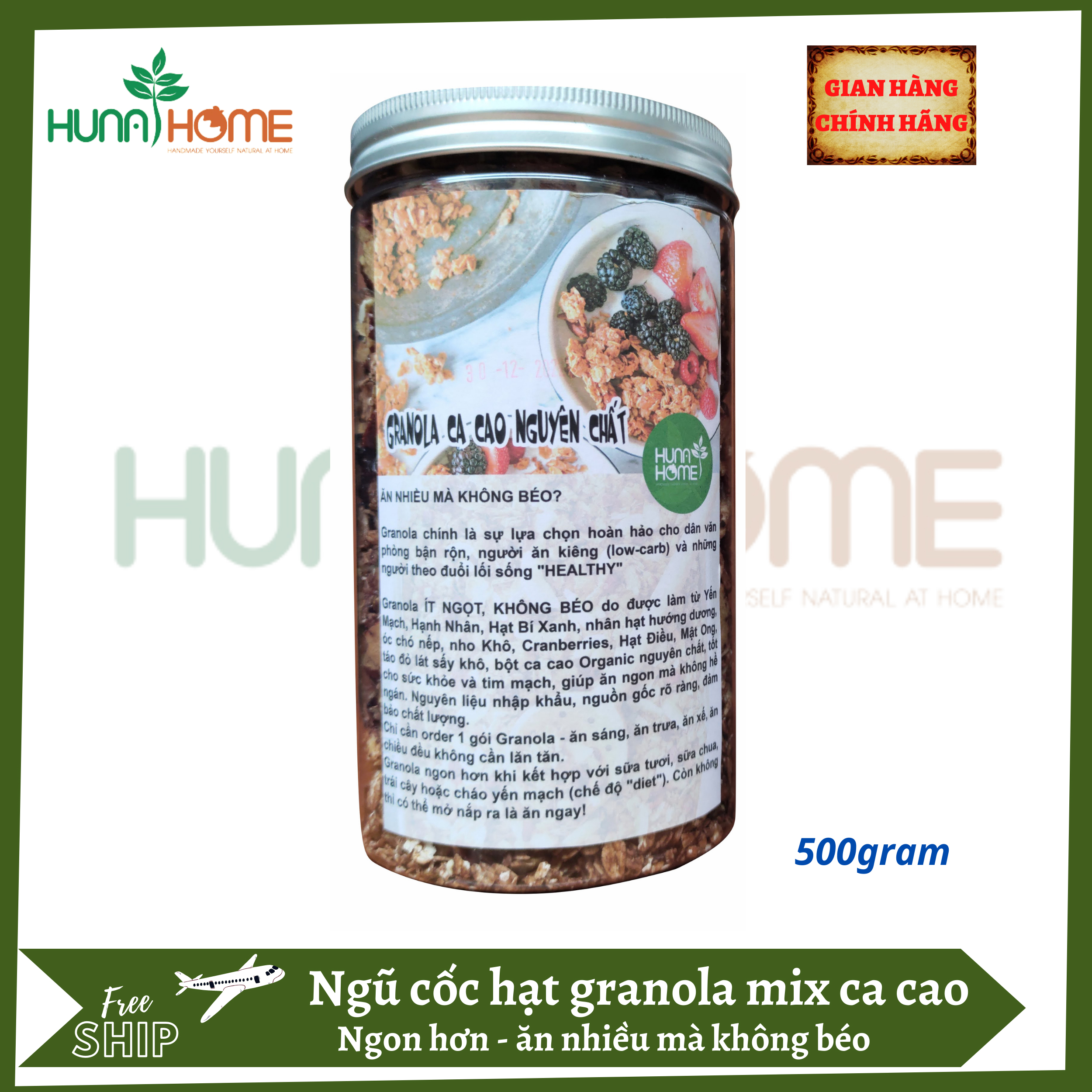 Ngũ cốc hạt granola mix cacao Hunahome