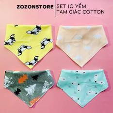 Yếm xô tam giác cotton Set 10 chiếc có cúc bấm khuy bấm, giữ ấm cổ cho trẻ sơ sinh, lau và vệ sinh cho bé đa năng Zozon