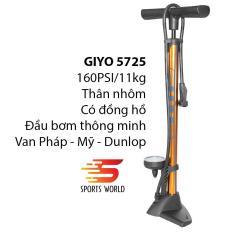 Bơm xe đạp,xe máy 160PSI/11KG GIYO-5725 thân nhôm có đồng hồ
