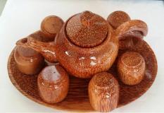 Bộ 6 tách và 1 ấm pha trà dĩa hình tròn bằng gỗ dừa