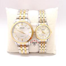 Cặp Đồng hồ đôi nam nữ HALEI dây kim loại thời thượng ( HL502 dây demi mặt trắng ) – TẶNG 1 vòng tỳ hưu phong thuỷ