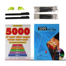 Combo 2 sách: Tập Viết Ma Thuật 5099 Từ Vựng HSK1- HSK6 (Kèm 20 ruột bút tự bay màu, 2 vỏ bút, 2 tỳ tay cao su) + 5000 từ vựng tiếng Trung thông dụng nhất + DVD quà tặng