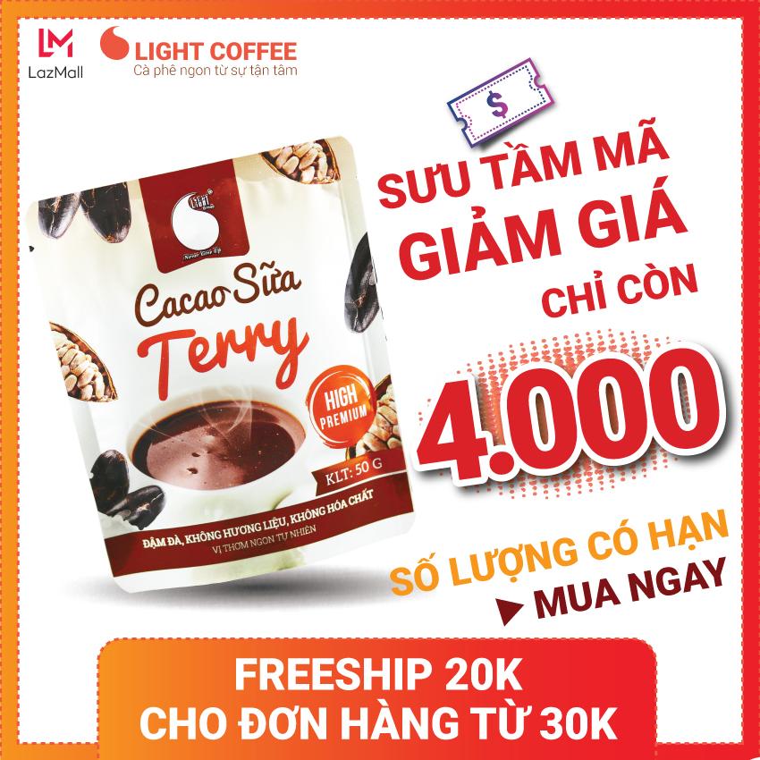 [SƯU TẦM MÃ] Bột Cacao sữa hòa tan 3 in 1 Terry Light Cacao thơm ngon và tiện lợi, dùng...