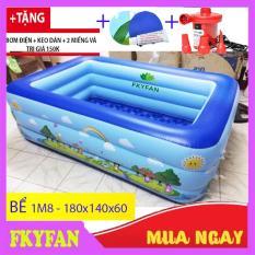 [ SHIP RẺ + TẶNG BƠM ĐIỆN] Bể bơi phao cho bé 3 tầng hình chữ nhật 1m8, bể bơi phao trong nhà, gia đình, hồ bơi bể tắm cho bé cho trẻ em tập bơi