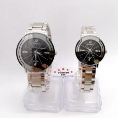 Cặp Đồng hồ đôi nam nữ HALEI dây kim loại thời thượng ( HL457 dây trắng mặt đen ) – TẶNG 1 vòng tỳ hưu phong thuỷ
