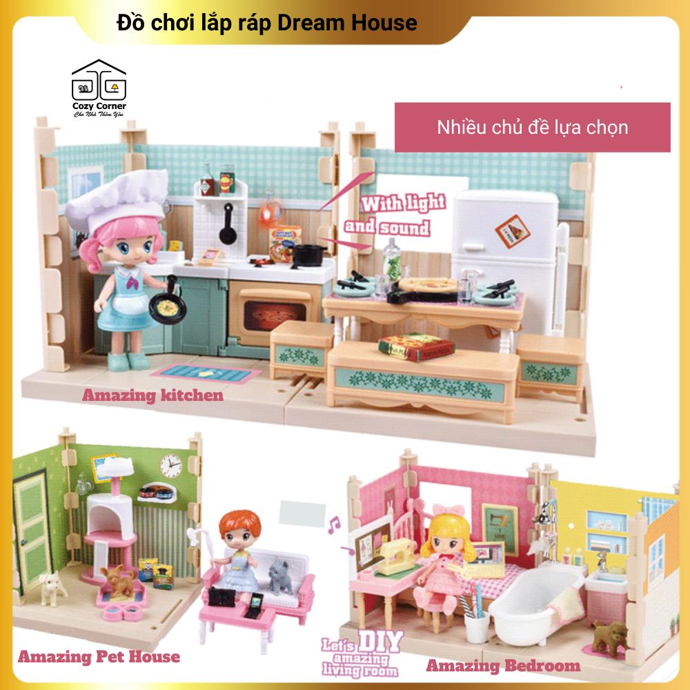Mô hình nhà búp bê Dream House tự lắp ráp đa năng, đồ chơi nhập vai không gian nhà bếp, phòng khám thú cưng, phòng thay đồ có nhạc – tặng kèm pin
