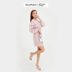 Áo sơ mi nữ thiết kế nhún bèo ngực nổi bật, chất liệu lụa cao cấp thời trang GUMAC mẫu mới AB451