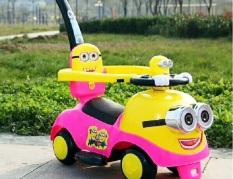 Xe chòi chân kết hợp xe đẩy Minion cao cấp SW002 – xe tập đi, xe thăng bằng, xe đẩy, do choi tre em