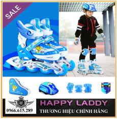 Giày trượt Patin thể thao tăng cường vận động, giải trí cho trẻ em HM089 bánh xe phát sáng tặng kèm bộ đồ bảo hộ 7 món