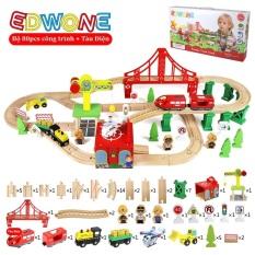 EDWONE, bộ mô hình đường ray xe lửa gỗ 80 chi tiết, Mẫu Cần cẩu công trình 80pcs kèm xe lửa điện