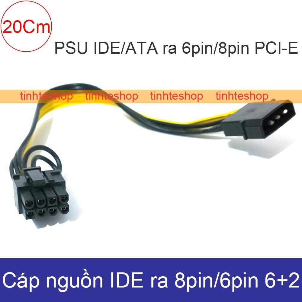 Cáp nguồn 4pin ATA/IDE sang 8pin/6pin 6+2 PCI-E 20Cm DIY