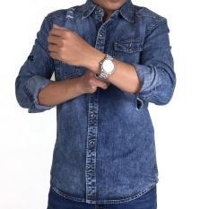 Áo sơmi nam Denim cao cấp vải Jean co giản tốt không ra màu không xù lông có nhiều size từ 40 – 85kg