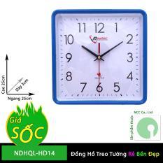 Đồng hồ treo tường – mặt vuông nền trắng – NDHQL-HD14 (Khung nền trắng)