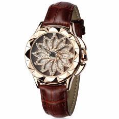 Đồng hồ nữ Sanda 9252 dây da mặt hoa xoay 360 cực xinh