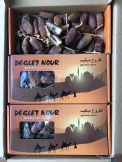 Chà là nguyên cành Deglet Nour Hộp 500g Isarel – mẫu hộp vàng