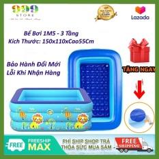 Bể bơi phao 3 tầng kích thước 1M5 ( 150x110xCao55Cm ) cho bé, hàng loại 1 có đáy chống trơn trượt, an toàn khi sử dụng tặng kèm miếng vá bể