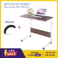 Bàn Làm Việc Di Động, Bàn Để Máy Tính Laptop SSNT80 – Bàn Làm Việc Có Bánh Xe, Kích thước bề mặt 60 x 40 cm