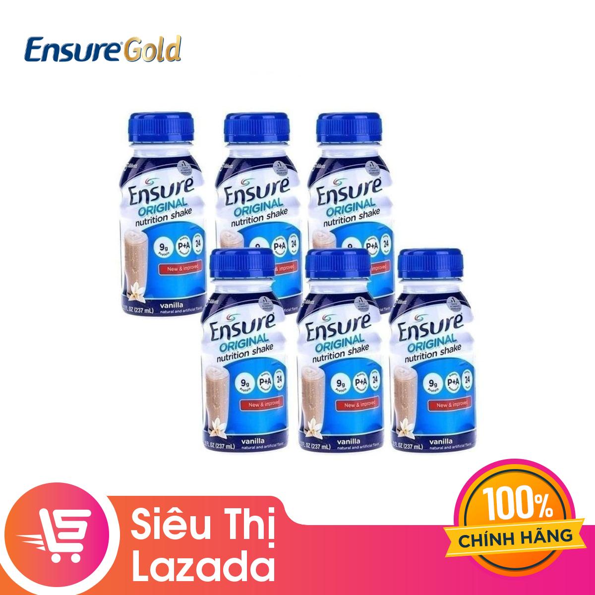 [GIẢM 40K ĐƠN 1,2TR] Bộ 6 chai sữa nước Ensure Vani 237ml