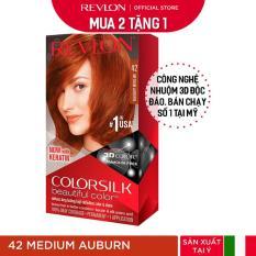 [Mua 2 tặng 1] Nhuộm tóc thời trang Revlon Colorsilk 3D – 42 Medium Auburn – Nâu Đỏ Vừa + Tặng 01 Khẩu Trang