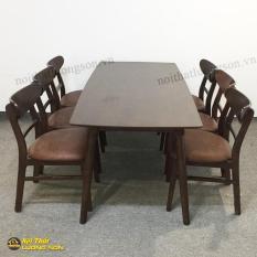 Bộ bàn ăn Korean Export nâu 6 ghế