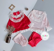 Bộ Pijama dài tay chất Lụa Hàn cao cấp cho bé gái từ 8kg đến 20kg