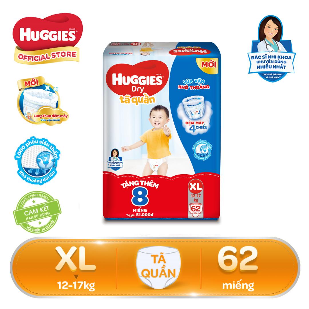 [FREESHIP 20K ĐƠN 300K] [Tặng thêm 8 miếng trong gói] Tã/bỉm quần Huggies Super Jumbo XL62 – Gói 62 miếng (Cho bé 12kg – 17kg)