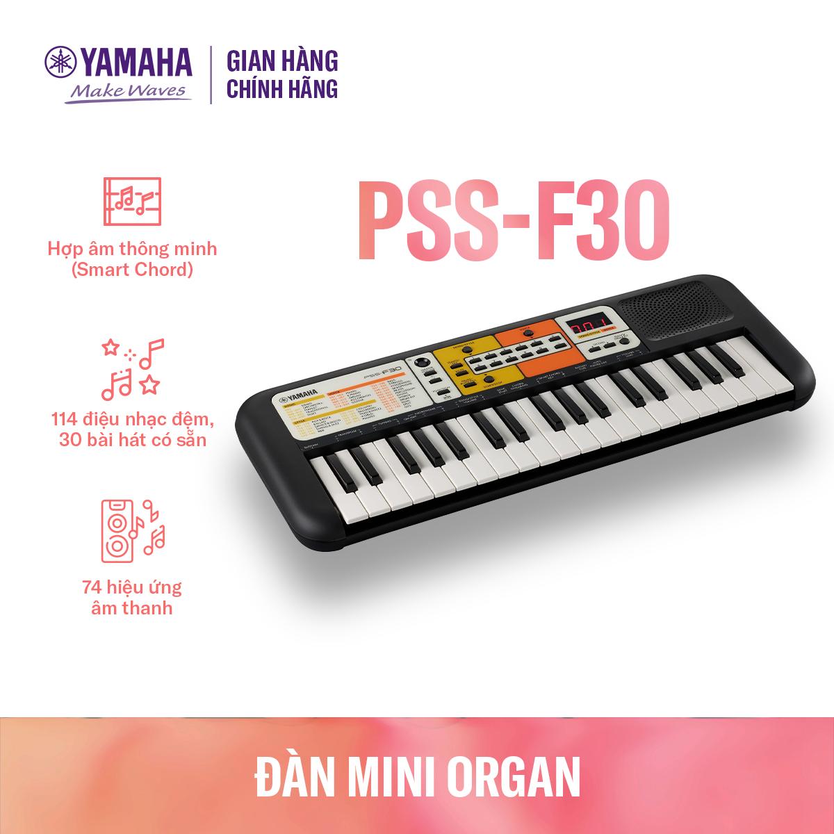 Đàn organ điện tử Yamaha cho trẻ em PSS-F30 – Bàn phím mini – 120 Tiếng nhạc – 114 điệu nhạc đệm – Giắc cắm loa và tai nghe tích hợp – Bảo hành chính hãng 12 tháng