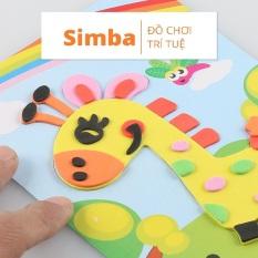 Combo 5 Tranh xé dán giấy bằng xốp đồ chơi Simbaba cho bé rèn luyện khéo léo