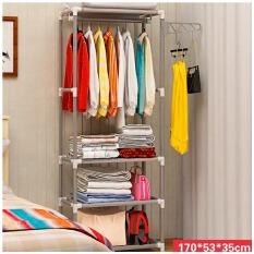 Kệ treo quần áo hình chữ H 4 tầng 3 ngăn đa năng có móc treo tiết kiệm không gian J0303 – HOM