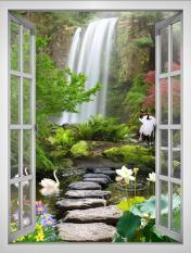 Tranh dán tường cửa sổ khổ dọc 3D VTC Cảnh đẹp khu vườn VT0392-D Kim sa