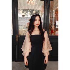 [Mới] Đầm Dự Tiệc Tay Đính Ngọc Chất UMI Dày Dặn Xinh Yêu (size: XS: cao dưới 1m58, dưới 44kg, eo dưới 64cm)