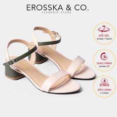 Giày sandal cao gót Erosska mũi tròn phối dây nhiều màu tinh tế cao 3cm EB019 (GE)