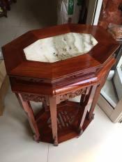Ghế đôn bát giác, cao 80cm, mặt ghế 47cm x 32cm kết hợp giữa gỗ và đá, thích hợp kê tượng, chậu hoa trang trí trong nhà
