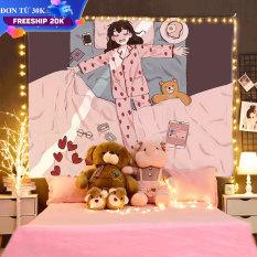 Thảm treo tường mẫu Cô Gái Hồng chất liệu polyester trang trí phòng ngủ vải treo tường, Decor phòng ngủ, tranh vải treo tường phòng ngủ,trang trí phòng ngủ