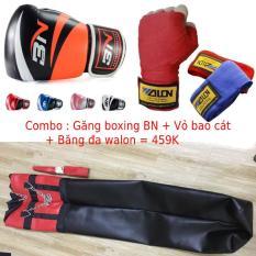 Sét vỏ bao cát boxing tập đấm bốc boxing, mma + Găng bao tay đấm bốc boxing BN hoặc MMA + Băng đa quấn tay Walon – Dụng cụ tập đấm bốc boxing, sparring, trainning