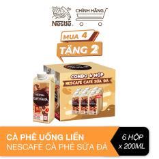 [Mua 4 tặng 2] Hộp cà phê uống liền Nescafé® cà phê sữa đá (hộp 200ml)