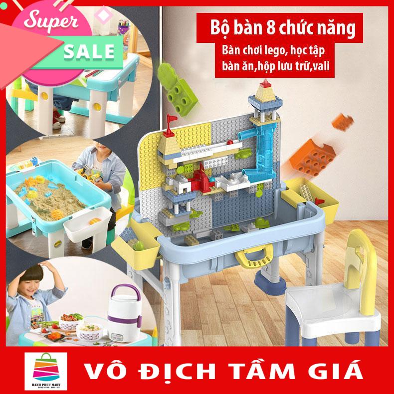 Bàn học và bàn chơi lego đa chức năng 8 trong 1 Bằng nhựa ABS an toàn Lego Style ( Bảo hành 12 tháng )