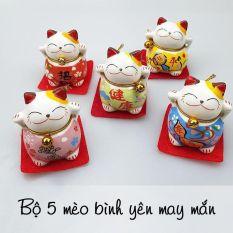 Bộ tượng 5 chú mèo thần tài phong thủy may mắn