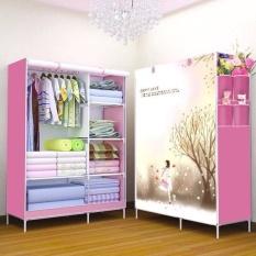 Tủ đựng quần áo, Tủ vải họa tiết 3D 2 buồng 6 ngăn cao cấp, Tủ vải đựng quần áo khung sắt cực gọn nhẹ và tiện lợi, Tủ quần áo đa dạng nhiều mẫu