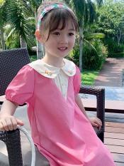 Đầm bé gái hồng phấn cổ tròn thêu hoa XHn654