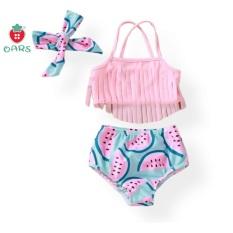 Đồ bơi trẻ em 2 mảnh – áo tắm bikini cho em bé gái sơ sinh 1 tuổi 2 tuổi 3 tuổi quần rời hình dưa hấu kèm băng đô