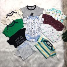 Bộ Bodysuit cộc tay chất cotton cho bé trai, bé gái từ 0-8kg(hình in thay đổi theo lô hàng)